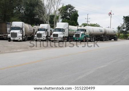 ESCARCEGA, MEXICO - JANUARY 07, 2015: Fuel truck stops for resting in a road on January 07, 2015 in Escarcega,Mexico - stock photo