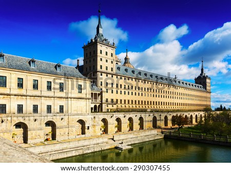 Escorial. View of Royal Palace in sunny  day. Spain