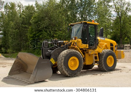 Eskilstuna, Sweden, June 25, 2015: Loader Volvo L 120Gz with Z-bar, Volvo Days 2015, Eskilstuna - stock photo