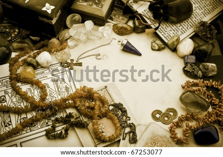 Esoteric arrangement in vintage style - stock photo