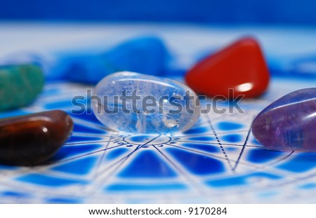 Esoteric Stones On Blue Astrological Chart Stock Photo Royalty Free