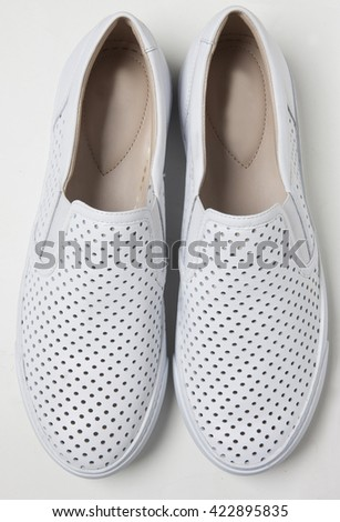 espadrilles shoes in pan isolated with shadows - stock photo