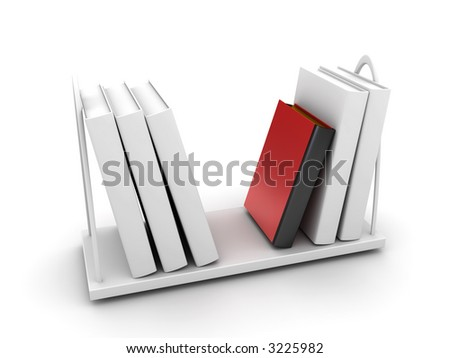 especial book on a table (for your inscription on butt end of the book) - stock photo