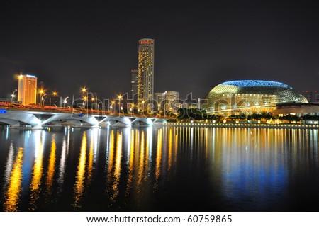 Esplanade Singapore at night - stock photo