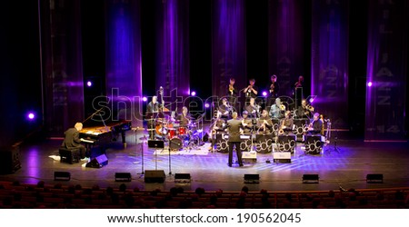 ESPOO, FINLAND - APRIL  25, 2014: Finnish jazz pianist  Iiro Rantala & Espoo Big Band perform live on 28th April Jazz. He is one of the best known Finnish jazz pianists, both in Finland and abroad.  - stock photo