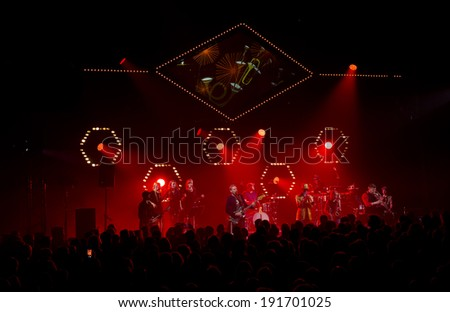 ESPOO, FINLAND - APRIL 25, 2014: Finnish super group The Northern Governors (TNG)  performs live on 28th April Jazz. Groups debut album was released in March 2012 on the  legendary Blue Note-label - stock photo