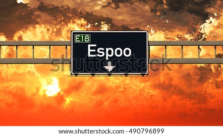 Espoo Finland Highway Sign in a Breathtaking Sunset Sunrise 3D Illustration