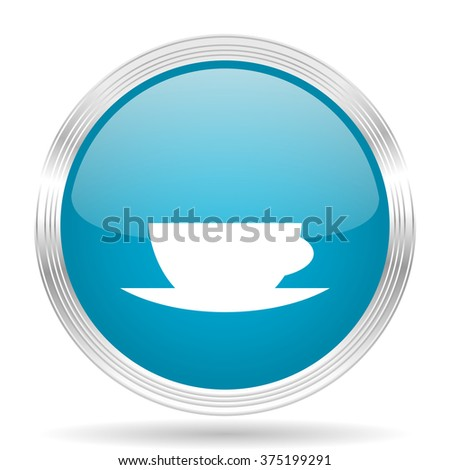 espresso blue glossy metallic circle modern web icon on white background