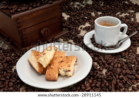 Espresso Coffee and italian Biscotti with Almonds and Walnuts - stock photo