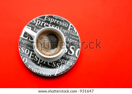 espresso coffee cup and two cookies - stock photo