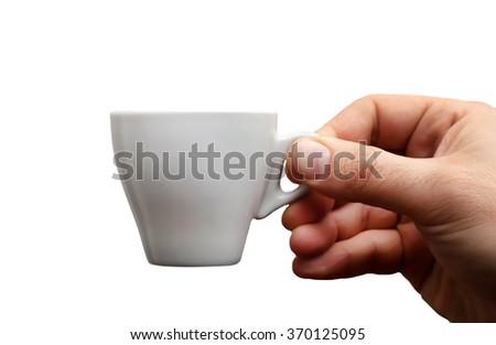 Espresso coffee cup isolated on white backgorund - stock photo