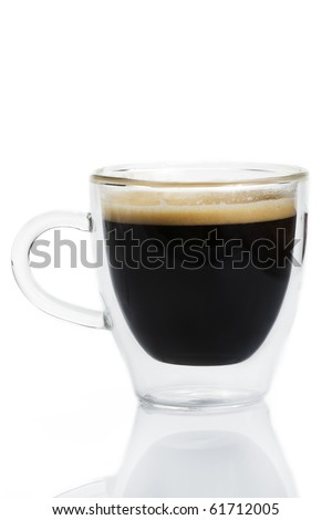 espresso coffee in a glass cup on white background - stock photo