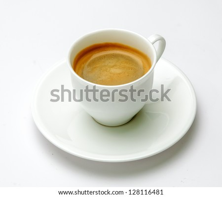 Espresso coffee in white cup against white background
