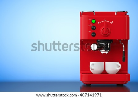 Espresso Coffee Making Machine on a blue background. 3d Rendering - stock photo