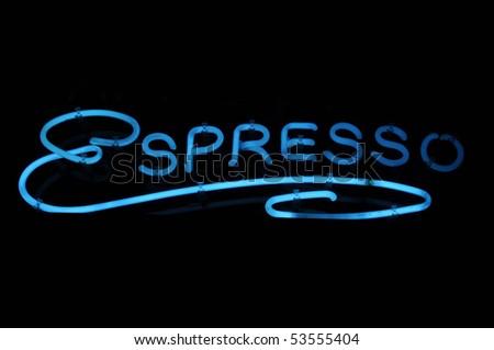 Espresso Coffee Neon Blue Light Sign - stock photo