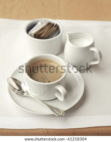 espresso coffee on table - stock photo