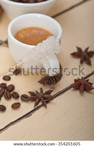 espresso coffee  over white wood rustic table  with sugar and spice - stock photo