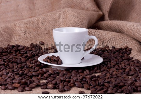 Espresso Cup with beans - stock photo