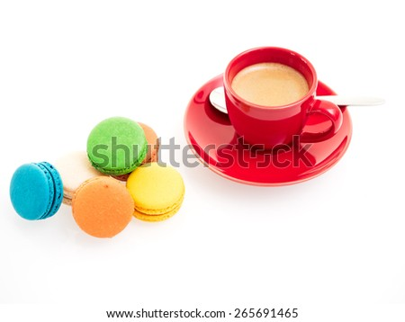 Espresso cup with Macarons isolated on white background - stock photo