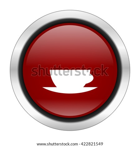 espresso icon, red round button isolated on white background, web design illustration