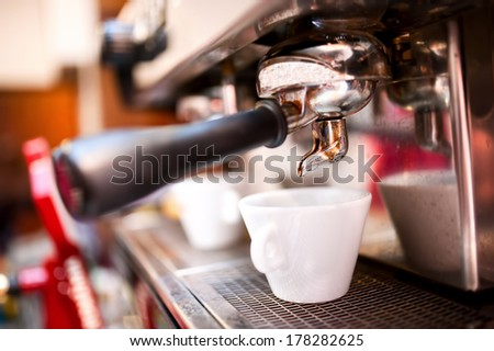 espresso maker with coffee and cups - stock photo