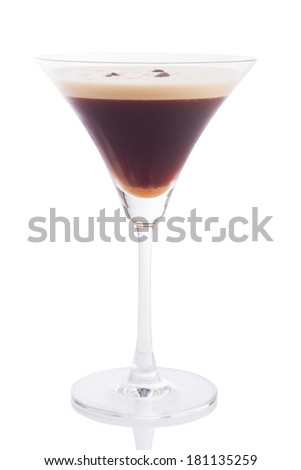 espresso martini cocktail isolated on white.