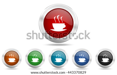 espresso round glossy icon set, colored circle metallic design internet buttons