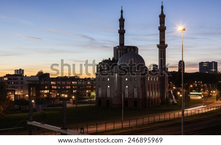 Essalam Mosque. Rotterdam, South Holland, Netherlands - stock photo