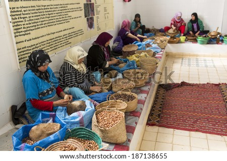ESSAOUIRA, MOROCCO-FEBRUARY, 7: women working in a cooperative for the manufacturing of argan fruits in Essaouira, Morocco, February 7, 2014. Only women work in these cooperatives - stock photo