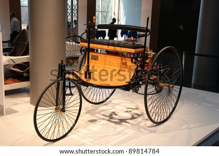 ESSEN, GERMANY - NOV 29: First Mercedes Benz Car from 1886 shown at the Essen Motor Show in Essen, Germany, on November 29, 2011 - stock photo
