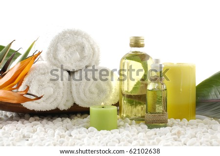 Essential body massage oils in bottles for relaxation and body treatment - stock photo