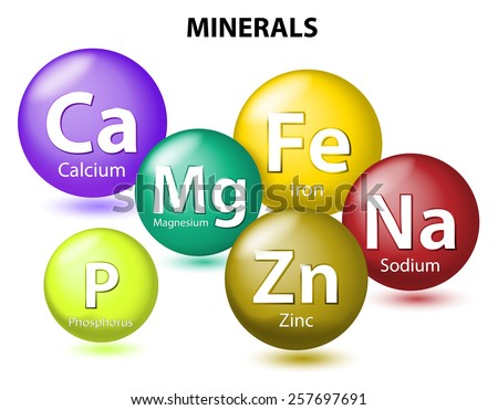 Essential chemical minerals or Dietary element. mineral nutrients. minerals and trace minerals are inorganic elements. Human body needs them to grow and stay healthy. Vector Illustration - stock photo