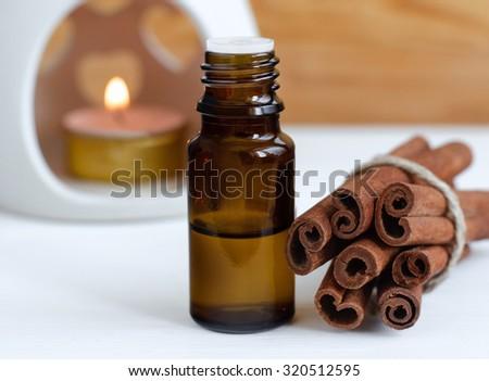 Essential cinnamon oil - stock photo