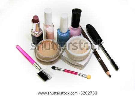 Essential makeup accessories for a woman. - stock photo