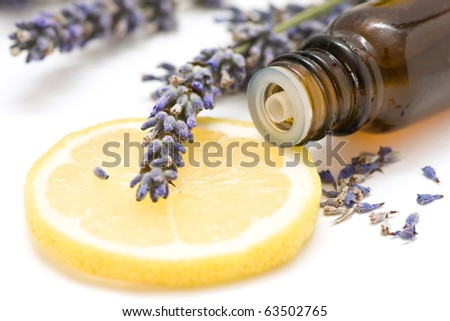 Essential oil composition with lemon and lavender - stock photo