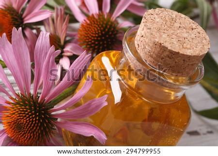 Essential oil of Echinacea purpurea macro in a glass bottle. horizontal - stock photo