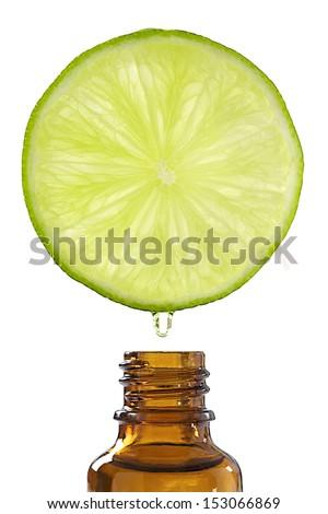 essential oil of lemon-Drop of oil falls - stock photo