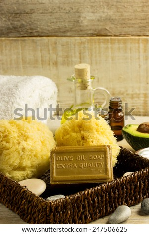 Essential oil, olive oil soap, wellness consept - stock photo
