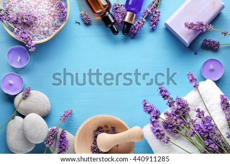 Essential oil,seasalt,candles,towels and handmade soap - stock photo
