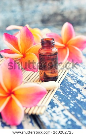 Essential oil with plumeria flower,spa set.