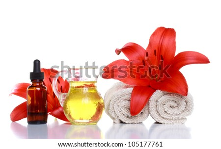 Essential Oils, Lilies and Towels, with Dropper Bottle (Spa Treatment)