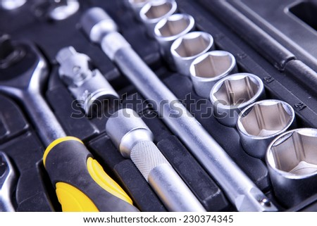 Essential tools for everyone. Keys, screws and hammers - stock photo