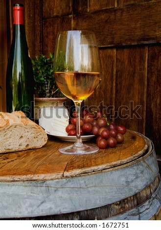 Essentials of a wine tasting - stock photo