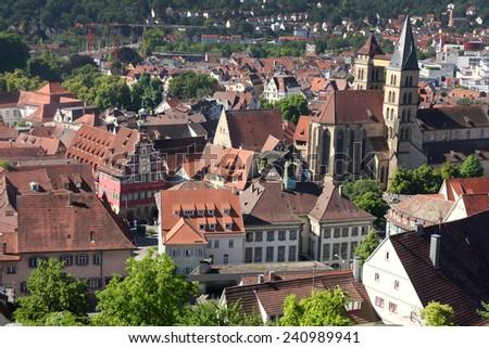 Esslingen am Neckar views from Castle Burg near Stuttgart, Baden Wurttemberg, Germany  - stock photo