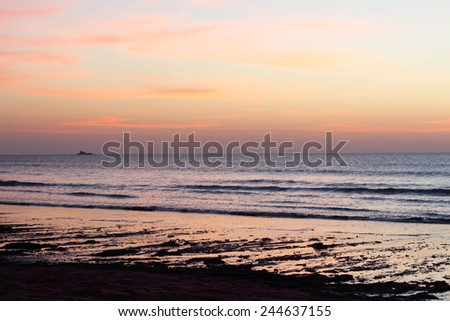 essoauira sunset on the beach morocco - stock photo