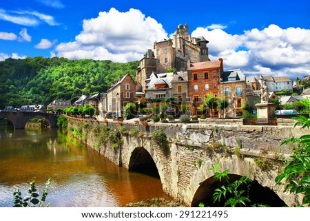Estaing -one of the most beautiful villages of France - stock photo