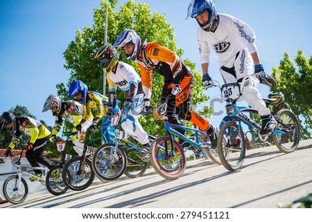 ESTARREJA, PORTUGAL - MAY 16, 2015: Racing start during trainings on the Taca de Portugal Bmx. - stock photo