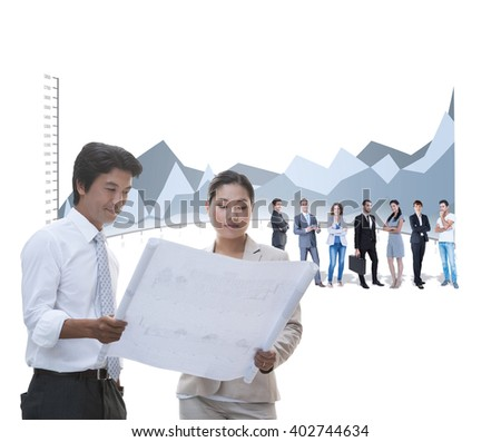 Estate agent buyer looking blueprint against stock photo 402744634 estate agent and buyer looking at blueprint against graph malvernweather Images