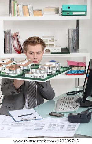 Estate agent's office - stock photo