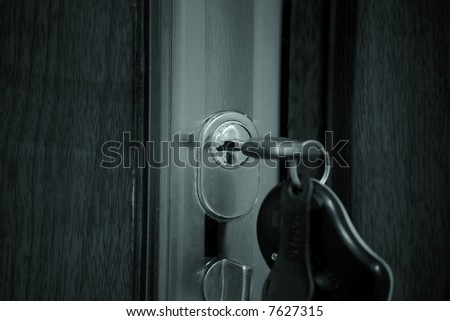 Estate background: door, key, home